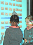 Learners from Grayston Preparatory School, Johannesburg, South Africa, using the new groundbreaking Phoneme Machine