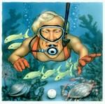 Illustration Greg Norman Snorkel Find by illustrator Mike Okamoto