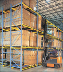 The pushback pallet rack offers maximum density in a minimum of warehouse space.