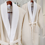 Fredi & Sons Double-Layered Waffle Weave Robe in Beige