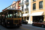 Palm beach Trolley stopping just in front of Lauren Adams Gallery