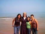 Sr. Mary Ann Spanjers, OSF and friends on the Lake Michigan shore