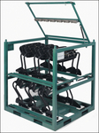 Custom steel shipping racks such as this one from Steel King are finding a home in the auto industry.