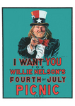 "Danny Garrett's famous Willie Nelson ""I Want You for my 4th of July Picnic"" poster 1983"