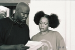 Director/star Daron Fordham goes over notes with The Lady Of Rage on the set of Confessions OF A Thug.