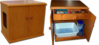Refined Litter Box in Cherry Stain