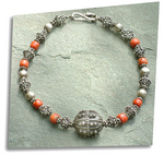 TA'IZZ Yemeni Silver and Mediterranean Coral Necklace