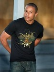 Logan Milan Millican in a Gold Foiled Eqyptian Garden Tee