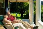 Outback Double Lounger: Green Basket Weave