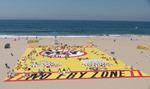 "World's Largest Beach Towel created by theatrical drape company Sew What? Inc as part of the Nabisco Toasted Chips ""No Fry Zone"" promotion."