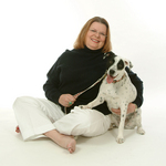 Author Linda Eckhardt with her dog Tex