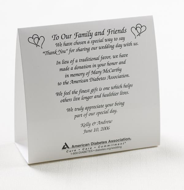 Ada Wedding Donation Tent Cardphoto Of American Diabetes Ocation Card