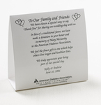 ADA Wedding Donation Tent Card