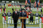 School President, Lt. General John E. Jackson, Jr. (right) and Alumni Association's Mike Whitmore prepare to take the review of the parade at Fork Union Military Academy.