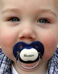 Mason enjoys MyPacifier Personalized Pacifier