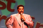 "Comedian Steve Harvey hosting the ""Just Churchin"" Comedy Show"