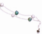 Silver and Teal Cultured Freshwater Pearls