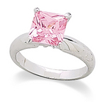 Square Pink CZ Ring