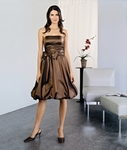 Strapless Flat Taffeta Bubble hem tea length dress with matching sash.