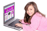 A young girl logs on to Cartoon Doll Emporium.