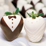 Bride and Tuxedo Berry gourmet hand-dipped strawberry creations