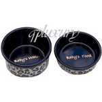 Black Leopard Teacup Bowl Set