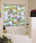 Biscayne stained glass decorative window film design decorating a tub window.