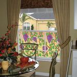 Napa design provides decorative privacy for the dining room.