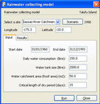 Rainwater collection model interface