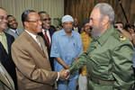 Minister Farrakhan and delegation meet with President Fidel Castro of Cuba.  Photo by: Kenneth Muhammad.