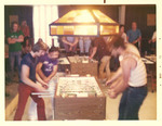 Foosball action during the early 1970's.