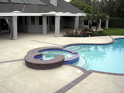 Pool Decking Ideas Concrete pool deck repair and resurfacing at denver apartment complex Concrete Pool Decks Can Be Shaped Colored And Patterned To Fit Any Pool Shape And Size Photo Courtesy Of Concrete Solutions