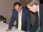 Mayor Perez reviews plans