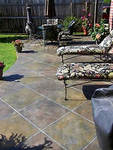 This patio was colored with dye-stains from Smith Paint Products