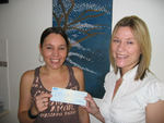 Zoie was the first ever winner at MySecretSound.com. Here she scoops a cheque for a cool $5000.00 after correctly guessing the first secret sound. The competition website continues to go from strength to strength