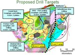 El Nino Ventures Proposed Drill Targets Map