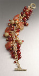 Hand-carved Carnelian bracelet with Freshwater Pearls