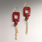 Rectangular hand-carved Carnelian earrings