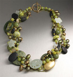Jade necklace with hand-carved Onyx, Olive Serpentine, and Yellow Turquoise