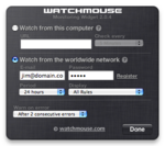WatchMouse site performance widget (settings)