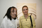 Mauricio Saravia and Radha Mitchell in his solo exhibit