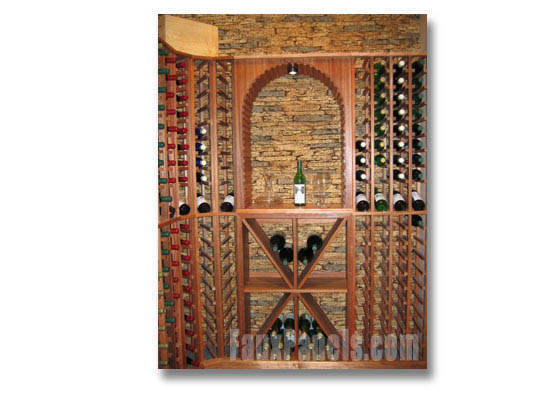 A wine cellar reflects the charm of Napa with realistic simulated stone paneling