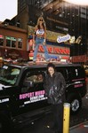 Ivy Supersonic poses with legendary drummer Carmine Appice in front of Caroline's Comedy Club during the