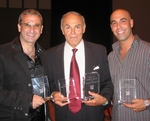 Stan Harrington, John Saxon and Joe Guarneri with some of their awards.