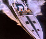 Don Johnson Driving the Miami Vice Boat
