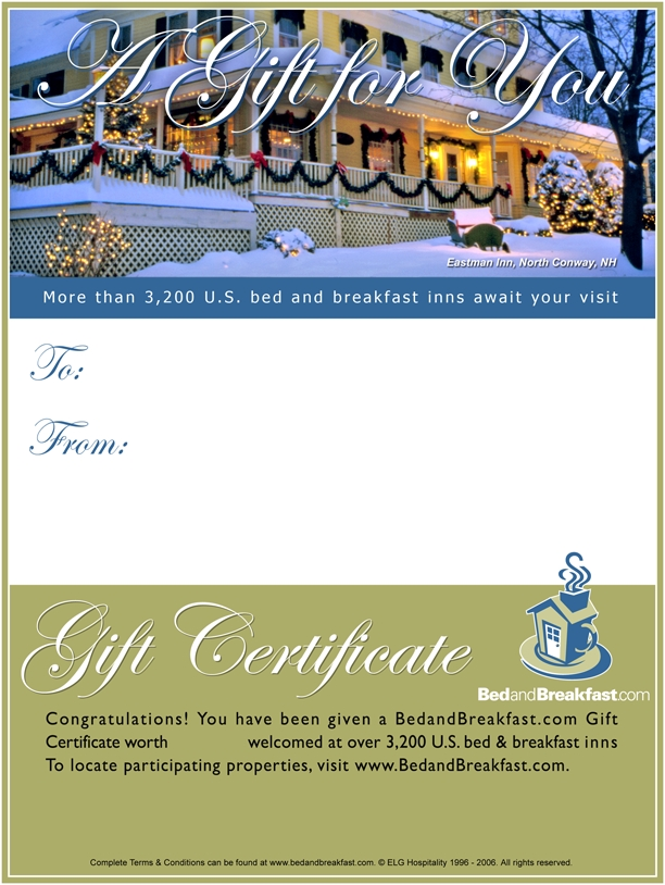 BedandBreakfast.com gift certifiates are the ideal gift for last-minute shoppers