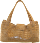 NANCY GONZALEZ tan crocodile shoulder bag