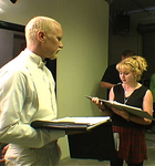 "Jim Hanks and Celeste Davis rehearse a scene from ""Purgatory House"""