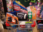 For $22.50, give your favorite lad these gifts from the Five Below Cool Picks Holiday Top 5 List -  a pair of iPodTM speakers, a mini SpauldingTM basketball, a warm fleece blanket, the Double BubbleTM Bubble Gum Factory and 50 pieces of ¢10 candy. Have an extra $21 to spend, add an iPodTM Fun Skin and Nano iJacket, a Penn State football, a fleece pillow and a Soccermania candy finger game.