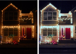 A typical result when shooting holiday lights at night (left); after a quick photo fix to correct the colors (right).